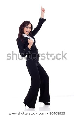 Egészalakos kép fiatal üzletasszony kezek magasban üzletasszony Stock fotó © feedough