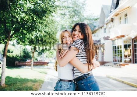 iki · kızlar · gülme · eğlence · sonbahar · gülen - stok fotoğraf © IS2