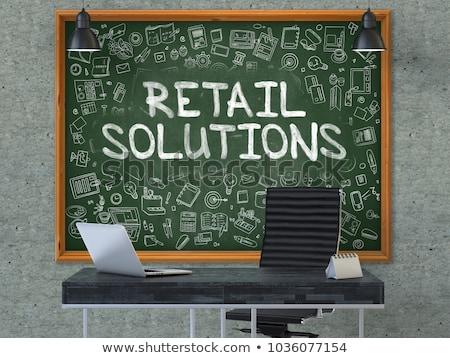 retail solutions concept chalkboard on the office wall 3d stock photo © tashatuvango