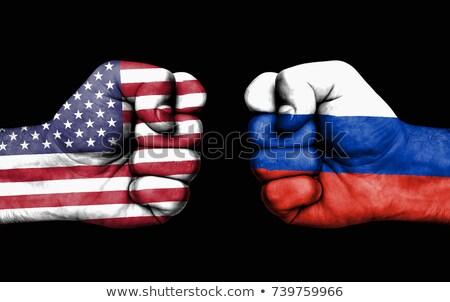 USA vs Rusland conflict vierkante vlaggen Stockfoto © romvo