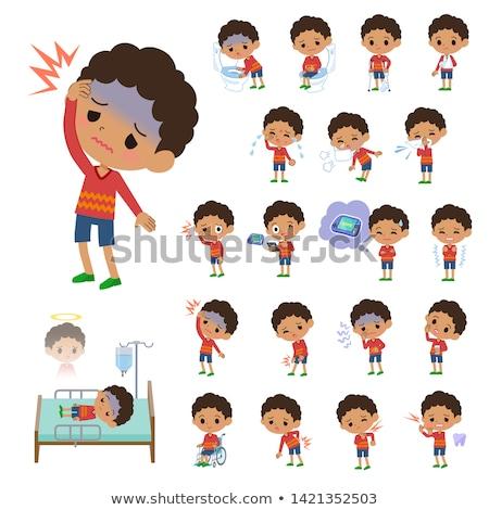 Fiú sérülés arc fájdalom szomorúság aranyos Stock fotó © IS2