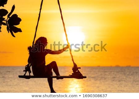 mulher · pôr · do · sol · praia · menina · verão · viajar - foto stock © armstark