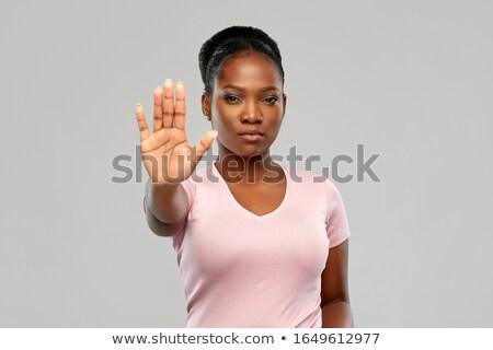 остановки · Сексуальные · домогательства · женщину · знак · остановки · служба - Сток-фото © hofmeester