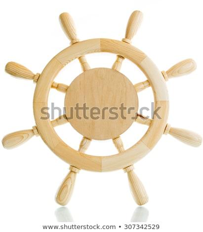 Wooden Decorative Ship Steering Wheel Isolated on White backgrou Stock photo © Bozena_Fulawka