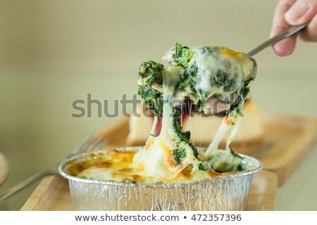 vegetáriánus · lasagne · pirított · fenyőfa · diók · olvad - stock fotó © m-studio
