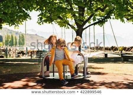 Három gyerekek játszanak park nap idő illusztráció Stock fotó © colematt