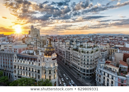 Skyline Madrid Spagna panoramica view crepuscolo Foto d'archivio © joyr