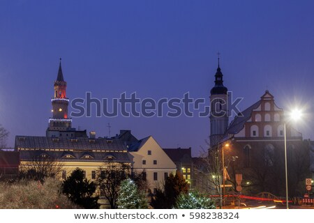 Old town of Opole seen in rain Stock photo © benkrut