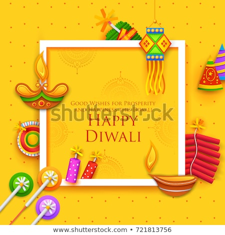 Burning diya and firecracker on Happy Diwali Holiday background for light festival of India Stock photo © vectomart