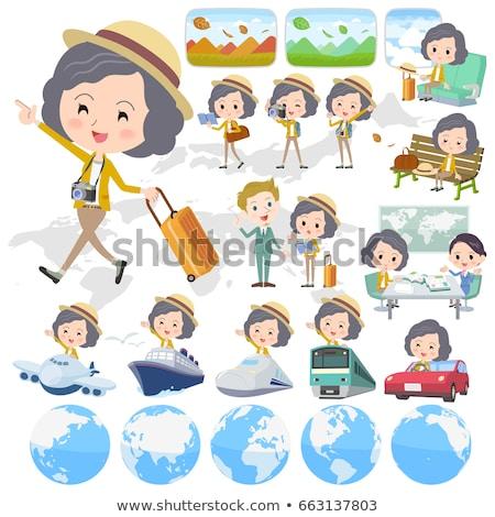 Yellow jacket Middle woman Pants style travel Stock photo © toyotoyo