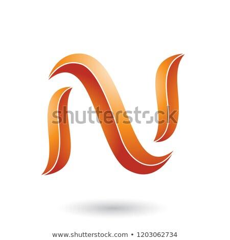orange striped snake shaped letter n vector illustration stock photo © cidepix