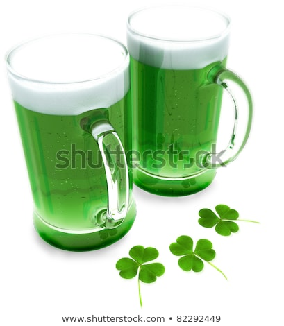 close up of glass of green beer with shamrock Stock photo © dolgachov