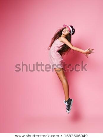 Woman in Fan Gust Stock photo © blamb