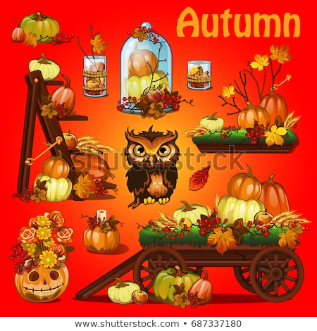 Poster on theme of Halloween holiday party or greeting card on theme of golden autumn. Fallen autumn stock photo © Lady-Luck