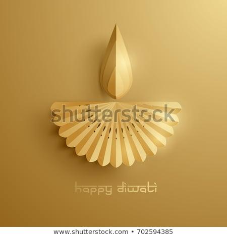 happy diwali golden diya and purple background Stock photo © SArts