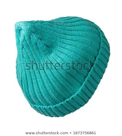 Pretty woman in warm turquoise beanie wool hat. Stock photo © marylooo