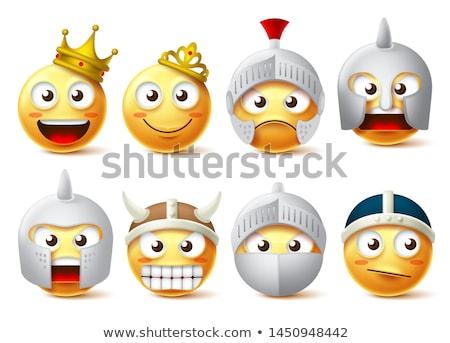 Glimlachend cartoon krijger illustratie gespierd pantser Stockfoto © cthoman