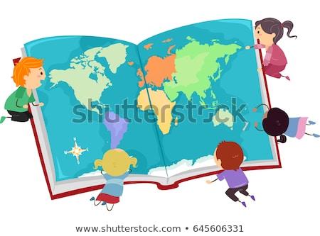 stickman kids big book map illustration stock photo © lenm