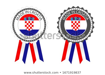 Modern vector Made in Croatia label isolated on white background, simple sticker with Croatian color Stock photo © kurkalukas