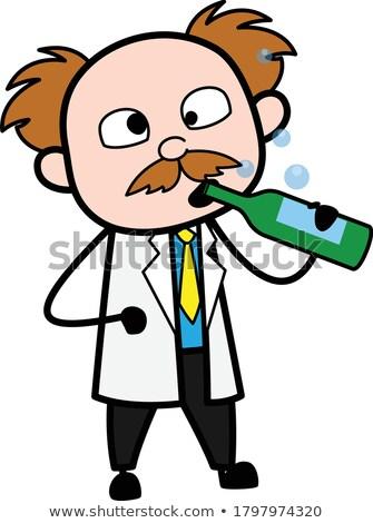 Karikatür sarhoş bilim adamı bakıyor Stok fotoğraf © cthoman
