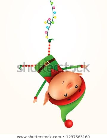 Stock fotó: Kicsi · manó · akasztás · fejjel · lefelé · izolált · gyerek