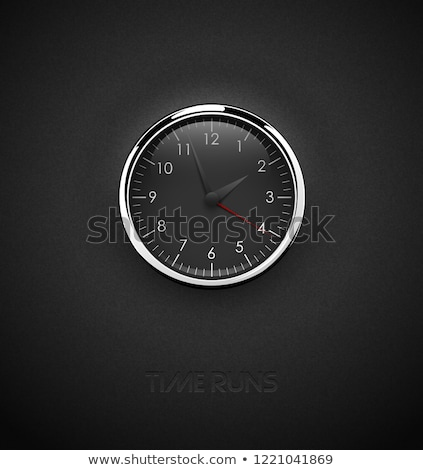 realistic deep black round clock cut out on textured plastic dark background chrome stainless steel stock photo © iaroslava