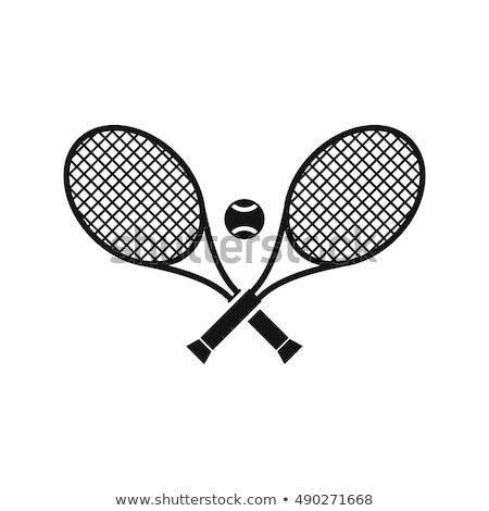 Stock fotó: Zöld · ütő · teniszlabda · izolált · fehér · sport