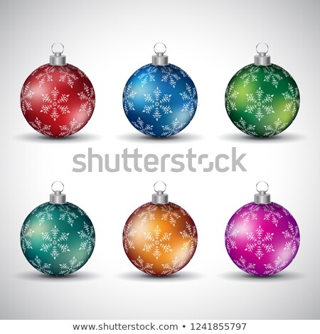 Colorful Glossy Christmas Balls with Snowflake Design - Style 2  Stock photo © cidepix