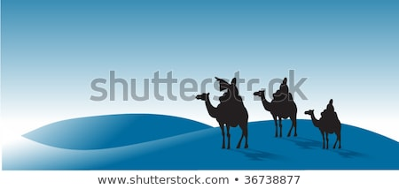 Stock photo: Three Kings Day With King Balthazar Camel And Gifts At Night