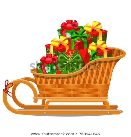 karácsony · szett · ajándékdobozok · izolált · zöld · elegáns - stock fotó © lady-luck