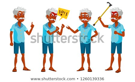 Indian Old Man Poses Set Vector. Elderly People. Hindu. Asian. Senior Person. Aged. Positive Pension Stock photo © pikepicture