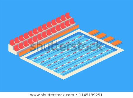 swimming pool and sportsmen vector illustration stock photo © robuart