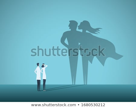 Superhero иллюстрация Flying небе человека пейзаж Сток-фото © colematt
