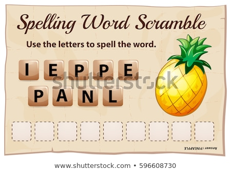 Spelling word scrable game with word pineapple Stock photo © colematt