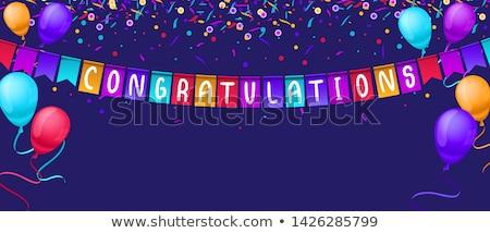 Azul branco balões palavra congratulação ilustração Foto stock © colematt