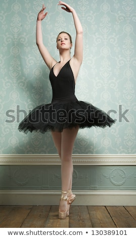 Ballerina nero posa dita dei piedi luce grigio Foto d'archivio © doodko
