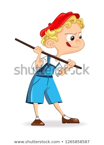 Cute Boy catching something Vector. Cartoon character illustrati Stock photo © frimufilms