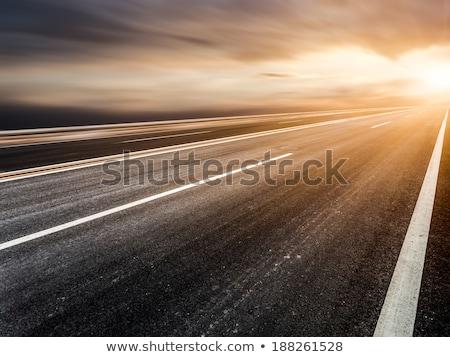 Naplemente égbolt üres út sehol illusztráció Stock fotó © colematt