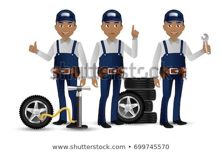 African American Mechanic Mascot Stock photo © patrimonio