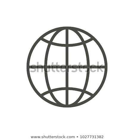 Web icon. Line internet vector. Trendy flat world globe ui sign design. Thin linear network graphic  stock photo © kyryloff