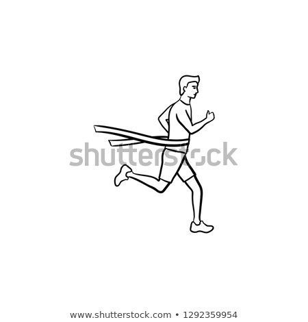 race runner and finishing tape hand drawn outline doodle icon stock photo © rastudio
