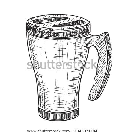 Croquis Voyage mug isolé blanche métal Photo stock © Arkadivna