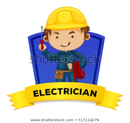 Occupation wordcard with word electrician Stock photo © colematt