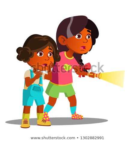Two Frightened Indian Girls Shine With Flashlight Vector. Isolated Illustration Stock photo © pikepicture