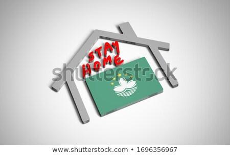 House with flag of macao Stock photo © MikhailMishchenko