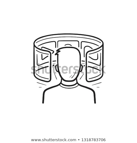 person in virtual reality hand drawn outline doodle icon stock photo © rastudio