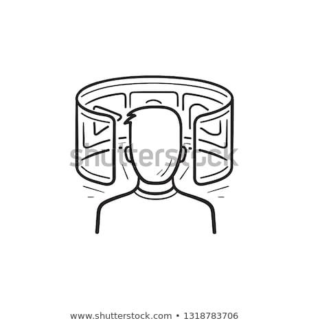 Сток-фото: человек · виртуальный · реальность · рисованной · болван