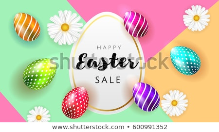 Happy Easter background template with beautiful eggs. Happy Easter big hunt or sale banner lettering Stock photo © ikopylov