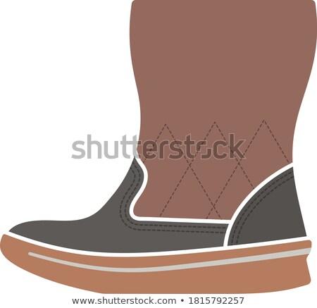 kobieta · puszysty · boot · ikona · czarno · białe · moda - zdjęcia stock © angelp