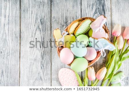 ストックフォト: イースターエッグ · クッキー · イースター · グリーティングカード · チューリップ · 花